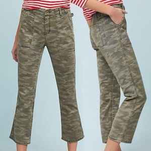 Anthropologie Camo Cropped Utility Flare Pants